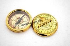 Handmade SUNDIAL Compass Nautical Brass Gilbert Golden Finish Collectible Gift