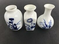 Set of 3 Vintage Small Chinese Blue & White Vases Miniature Made in China