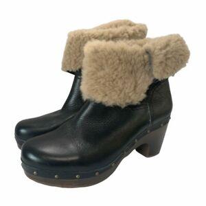 UGG Black Genuine Leather Brown Sheepskin Clog Style Boots UK4.6 SB4