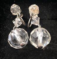 Vintage Sterling Silver Earrings 925 Glass Clear Screw Back