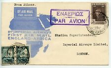 GREECE 1931.3.9 Imperial Airways First Airmail Africa return:  Athens to London