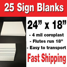 "BOX OF 25 24""x18"" BLANK Lawn Signs WHITE CORRUGATED YARD SIGNS/POLITICAL SIGNS"
