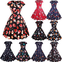 Women's Halloween Party Cap Sleeve Printed Cocktail Skater Pleated Swing Dresses