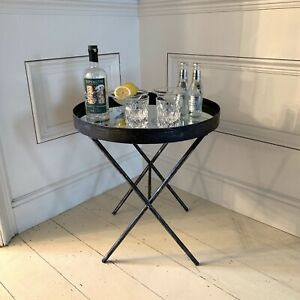 Multi-use Wall Mirror & Mirrored Table in Pewter colour