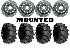 Kit 4 Kenda Executioner Tires 27x10-12 on ITP Delta Steel Silver Wheels SRA