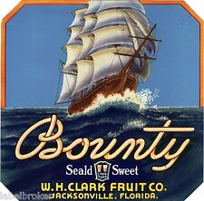 OLD BOUNTY CRATE LABEL FLORIDA JACKSONVILLE CLIPPER SHIP VINTAGE PIRATES 1930S