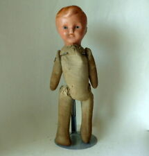 """Vintage 13"""" Boy Doll Ceramic Head Cloth Body Wire Jointed Stuffed with Sawdust"""