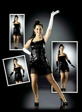 The Frug Dance Costume Black Solid Sequin Flapper Dress Clearance Adult Large