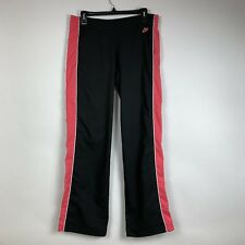 Nike Womens Medium (8-10) Black Track Pants Pink Striped Athletic Running Yoga