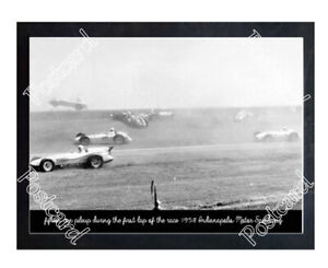 Historic 1958, 15 car pile-up on the first lap Indy Postcard