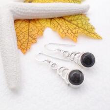 Onyx schwarz rund black Design Ohrringe Ohrhänger Hänger 925 Sterling Silber neu