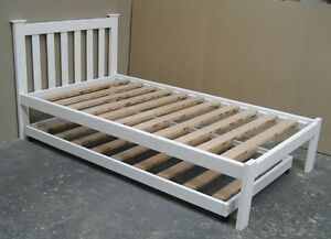 Solid Pine King Single Bed with Trundle