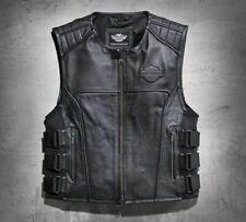 Men Swat II Genuine Leather Harley Vest Zippered Biker Cafe Racer Black