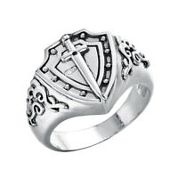 Knight's Ring Sword Shield Signet Men Ring Medieval Retro Silver Jewelry Gifts