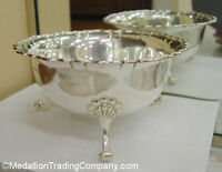c1910 William Hutton & Son Sheffield Sterling Silver Footed Scalloped Shell Bowl