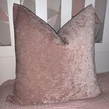 "Cubierta Cojín Lisa 18"" iliv Tela, terciopelo rosa hecha a mano de doble cara"