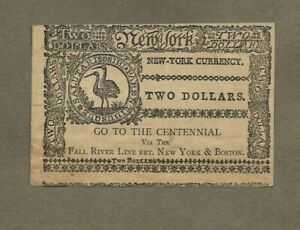 COLONIAL CURRENCY CENTENNIAL FALL RIVER STEAMSHIP LINE NEW YORK & BOSTON