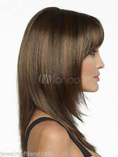 NEW30  Long straight women's brown mix hair Wig wigs for modern women