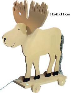 Holz Weihnachts Elch auf Rädern 50x41x11 cm Adventsdeko Weihnachten Deko