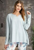 Easel Terry Knit Stitched Detail Long Sleeve Tunic Top Size S M L