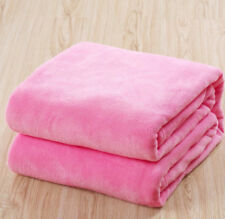 Super Soft Solid Warm Micro Plush Fleece Blanket Throw Rug Sofa Bedding UK