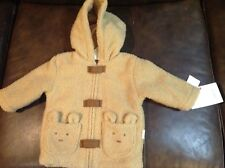 New Baby Plush Faux-Sherpa Hoodie Jacket Zips Lined Winter Outwear Size 6-9 m