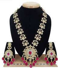 Indian Bollywood Jewelry Wedding Bridal Fashion CZ Long Necklace Set  Hot Pink