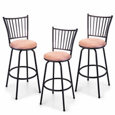 Metal Swivel Stools 3 Set Adjustable Bar Height Black Kitchen Counter Stool