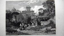 GRAVURE ANCIENNE 19e - PALAIS CHIGI A ARICIA - ITALIE