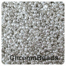 100g SILVER METALLIC glass seed beads - choose size 6/0, 8/0 or 11/0 (4, 3, 2mm)