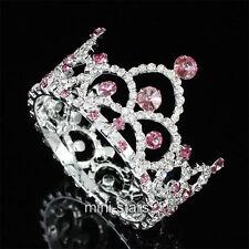 Damigella Matrimonio/Bambino cristallo cerchio rotondo rosa mini diadema corona