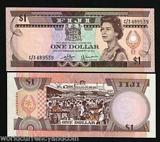 Fiji 1 Dollar P76 1980 Queen Fruit Unc Pacific World Paper Money Bill Bank Note