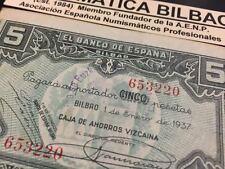 BILBAO 5 PESETAS 1937 BILLETE CON SELLO MORADO DEL GOBIERNO VASCO EN EUSKADI
