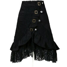 Women's Steampunk Gothic Black Lace Splicing Metal Button Buckle Skirt  Novelty