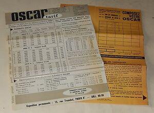Feuillets Publicitaires MEUBLES OSCAR - Rue Tronchet PARIS 1954-1955 + TARIFS