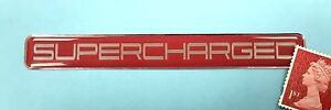 SUPERCHARGED Chrome on Red Sticker - Super Shiny Domed Finish - 106mm x 14mm
