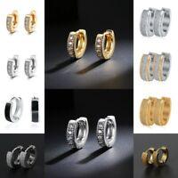 Punk Men Women Gold Silver Stainless Steel Hoop Huggie Ear Stud Cuff  Earrings