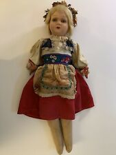 "German 24"" Paper Mache Fabric Hand Painted Face Doll Regional Costume"