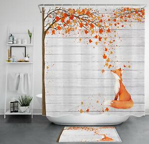 Autumn Golden Yellow Maple Leaves Funny Fox Shower Curtain For Bathroom Decor