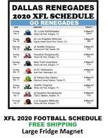 2020 Dallas Renegades XFL Team Football Schedule