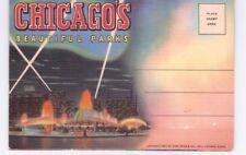 Vintage 1937 Fold Out Souvenir Postcard 16 Pictures Chicago's Beautiful Parks