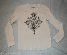 MENS Long Sleeve Waffle Tee Shirt Light Beige Snakes RETRO Distressed S 34-36