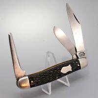 VTG Utica Cutlery Rough Black Celluloid 3 Blade Serpentine Stock Pocket Knife