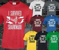 I SURVIVED SHARKNADO T SHIRT TOP FUNNY B MOVIE COOL FASHION TOP HIPSTER