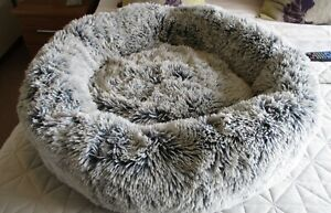 Cozee Paws Odourology Fluffy Round Pet Bed Silver Tipped Medium New