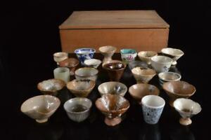 P6302: Japanese Seto-ware Oribe-ware SAKE CUP Sakazuki Bundle sale Sake vessels