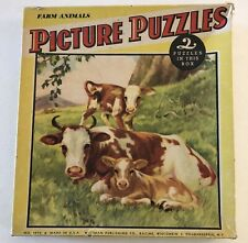 VINTAGE WHITMAN PICTURE PUZZLES FARM ANIMALS 2 IN BOX