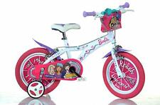 """Dino Barbie Kids Girls Pink Character Bike Stabilisers 14"""" Childs First Bicycle"""