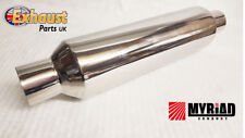 """Exhaust Silencer Bullet 2.5"""" Bore Side Exit Kit Car Westfield Polished Chrome"""