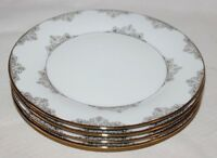 Ciroa Luxe Fine Floral Scroll Metallic Gold Dinner Plates Set of Four New